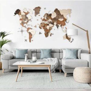 Harta lumii din lemn 3D multicolor