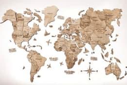 harta lumii din lemn 3d