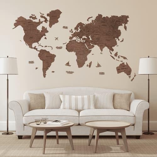 2D Wooden World Map for Wall Oak