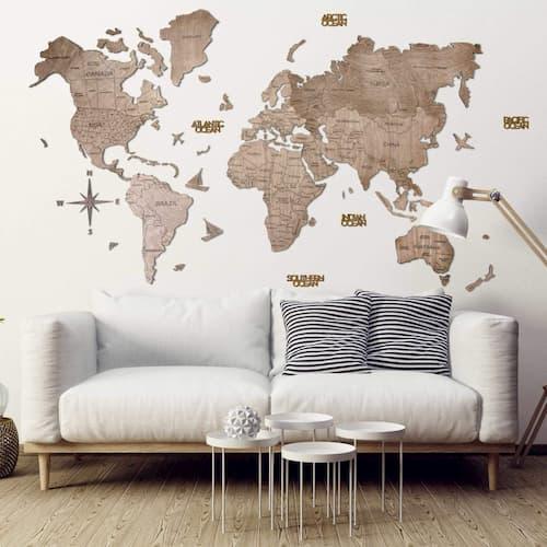 2D Wooden World Map for Wall Terra