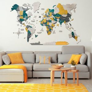 3D Colored Wood World Map Country