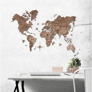 3D Wooden World Map for Wall Dark Oak