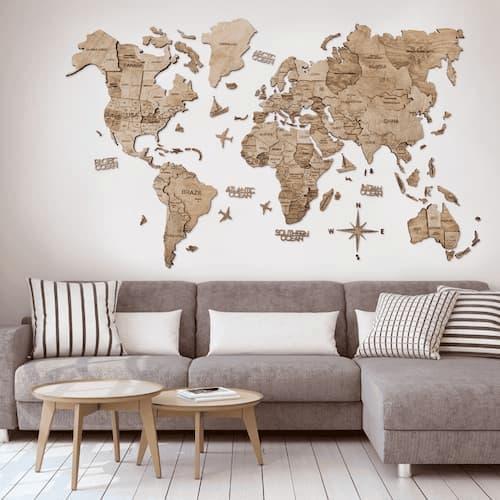 3D Wooden World Map for Wall Terra
