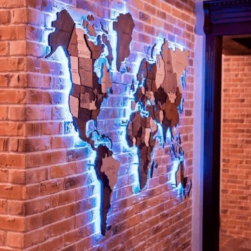 Acrylic 3D LED World Map