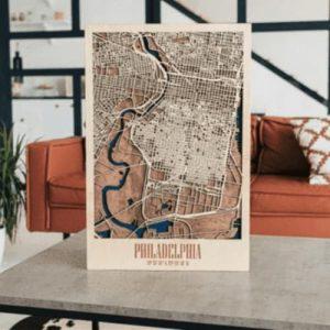 Wooden 3D Philadelphia Map