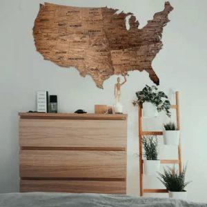 Wooden USA Map Wall Art