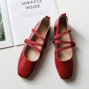 cristen square toe block heels pumps red