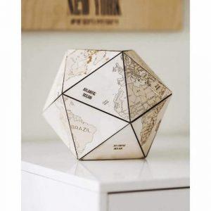 icosahedron wooden world globe