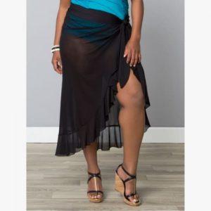 plus size giselle ruffle sarong black