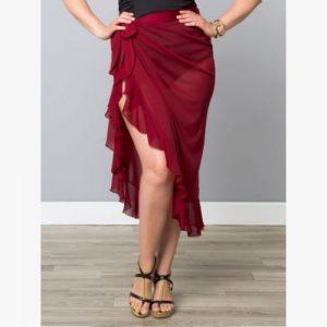 plus size giselle ruffle sarong ruby