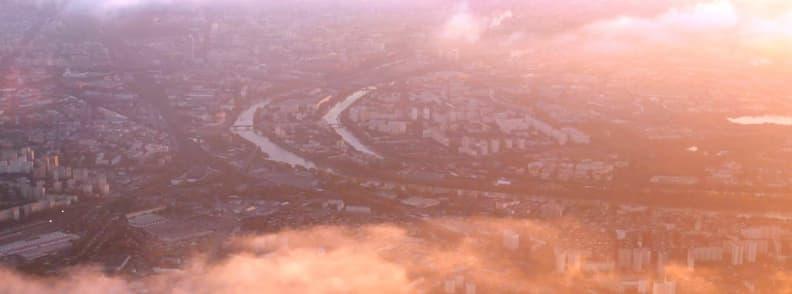 aerial view paris france at sunset