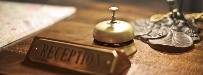 hostels or budget hotels reception
