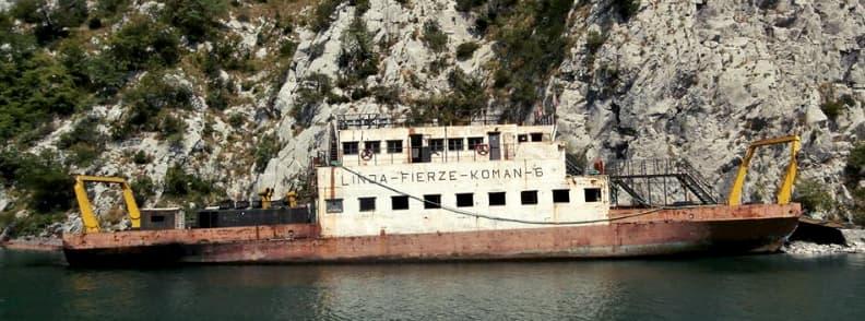 komani lake ferry ride old ship to fierze