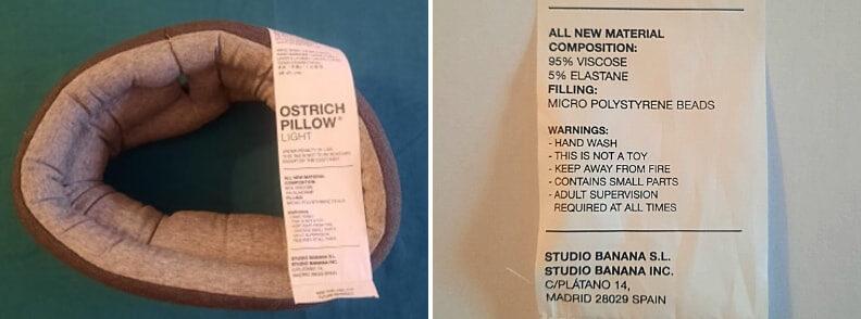 ostrich pillow light tag