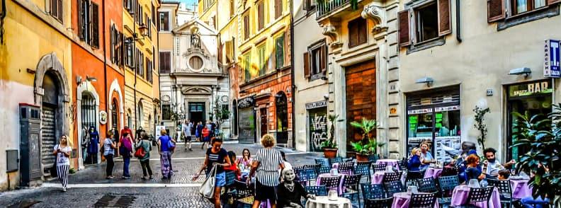via dei giubbonari street in rome