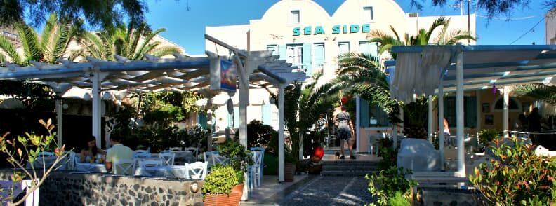 where to stay in Santorini on a budget sea side beach hotel in kamari
