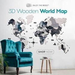 hartă din lemn 3d Enjoy The Wood