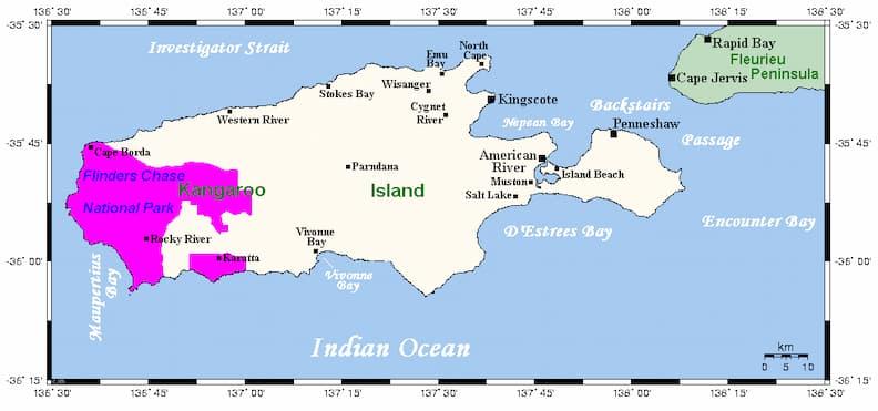 kangaroo island australia map